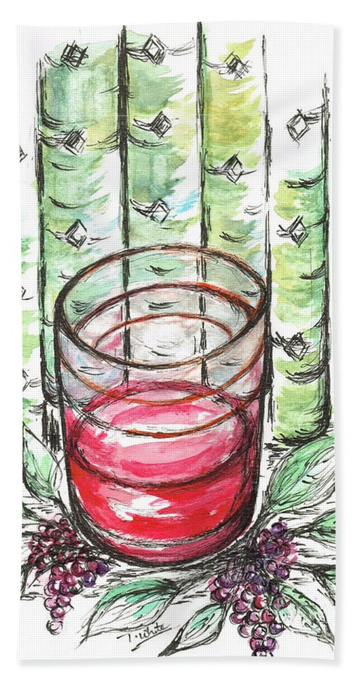 Teresa Beach Towel featuring the painting Glass Rosy Wine by Teresa White