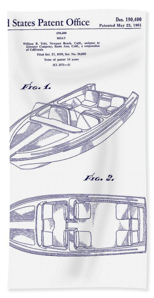Sketch Beach Towel featuring the digital art Glasspar 1960 California Boat by Georgia Fowler