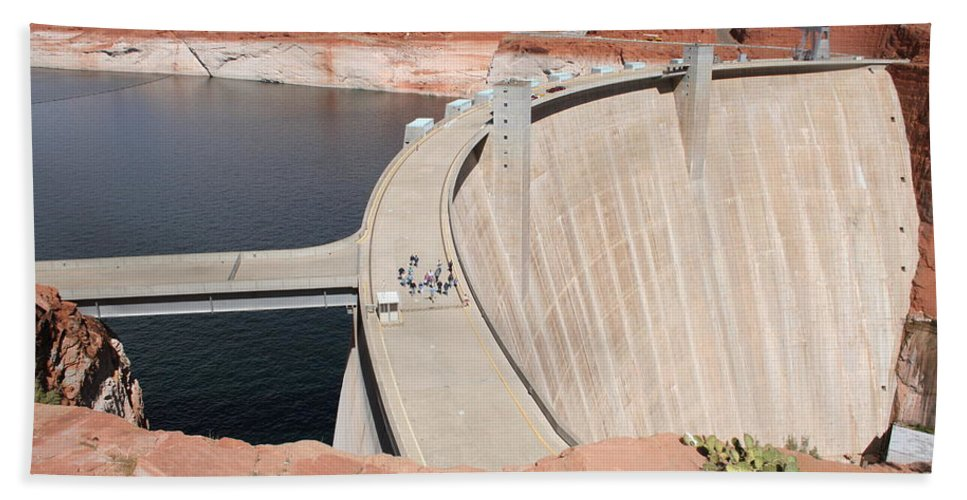 Lake Beach Towel featuring the photograph Glen Canyon Dam by Christiane Schulze Art And Photography