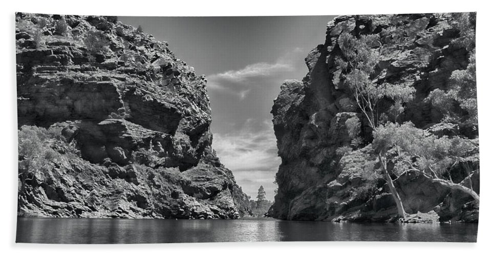 Glen Helen Gorge Beach Towel featuring the photograph Glen Helen Gorge-outback Central Australia Black And White by Douglas Barnard