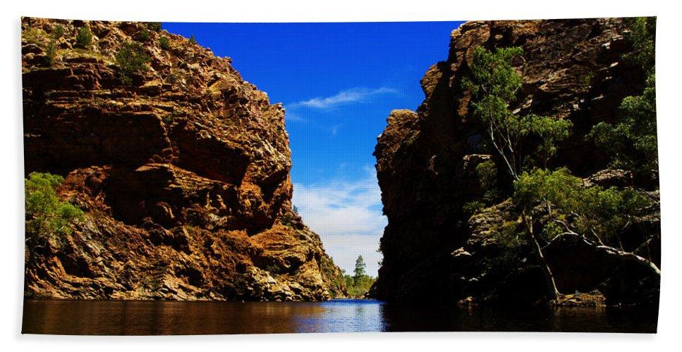 Glen Helen Gorge Beach Towel featuring the photograph Glen Helen Gorge-outback Central Australia V2 by Douglas Barnard
