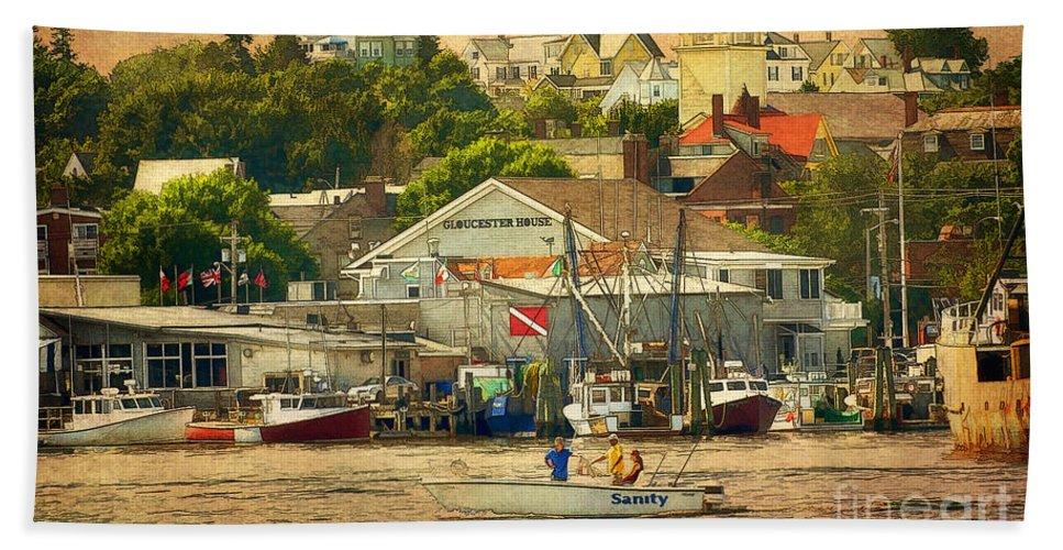 Digital Art Beach Towel featuring the photograph Gloucester Harbor by Claudia Kuhn