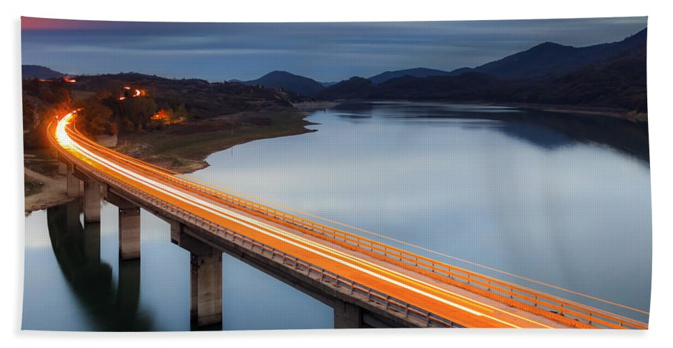 Bulgaria Beach Towel featuring the photograph Glowing Bridge by Evgeni Dinev