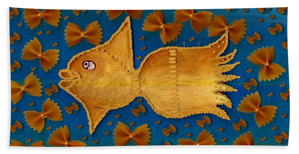 Goldfish Beach Towel featuring the mixed media Glowing Gold Fish by Pepita Selles