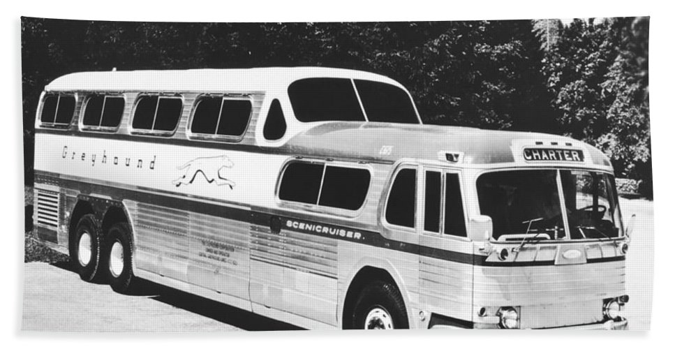 1950's Beach Towel featuring the photograph Gm's Latest Bus Line by Underwood Archives