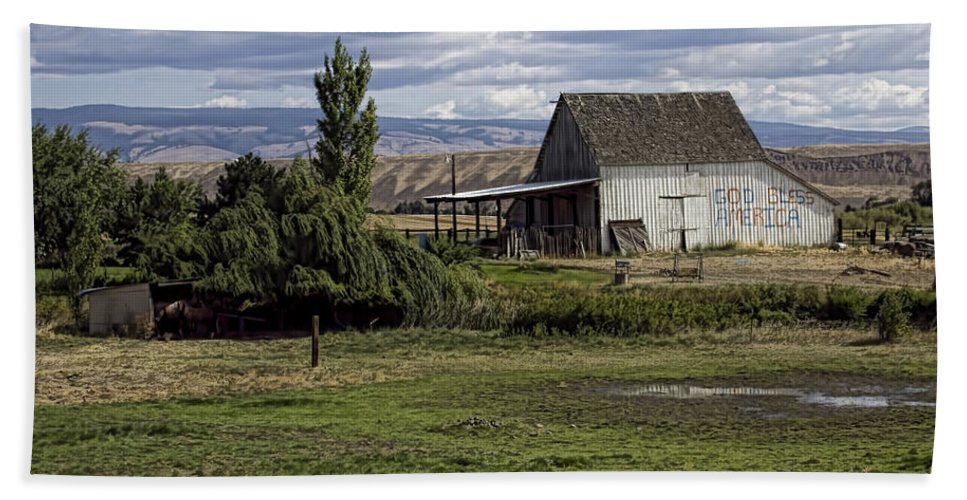 Beach Towel featuring the photograph God Bless America Barn by Cathy Anderson