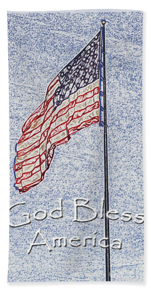 Flag Beach Towel featuring the photograph God Bless America by Debbie Portwood