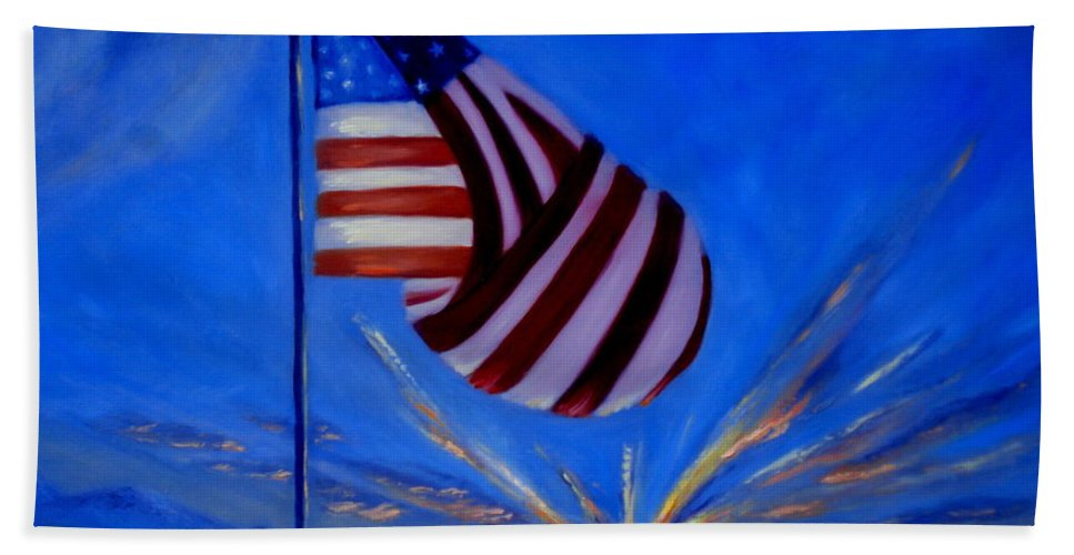 American Flag Beach Towel featuring the painting God Bless America by Rebecca Hendrix