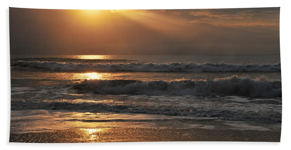 Sunset Beach Towel featuring the photograph God's Rays by Lynn Bauer