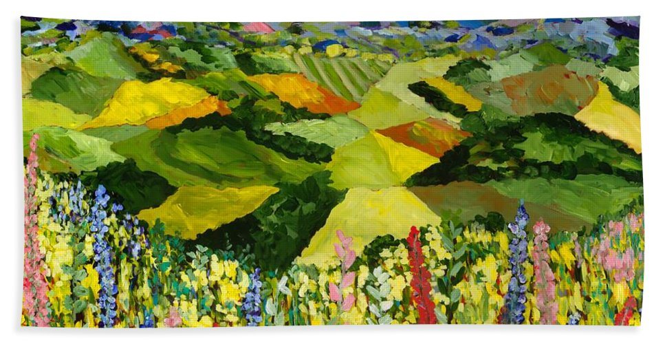 Landscape Beach Towel featuring the painting Going Wild by Allan P Friedlander