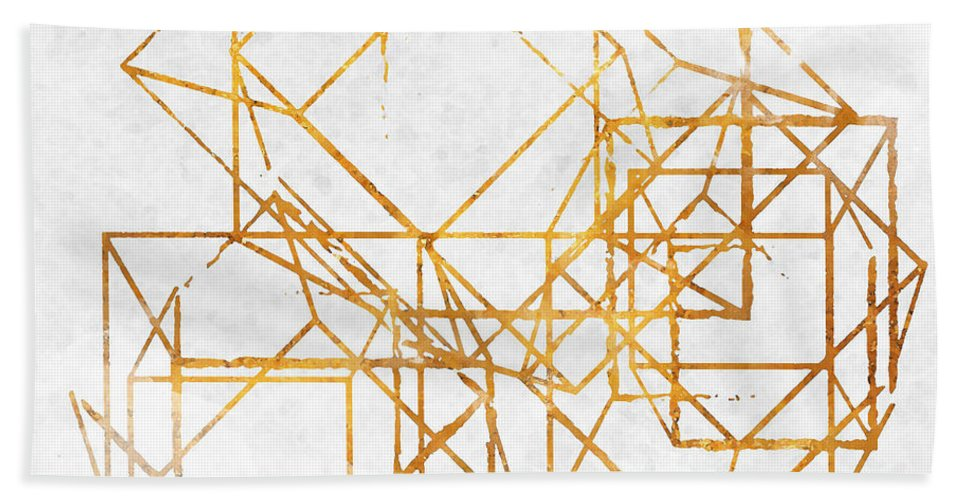 Gold Beach Towel featuring the digital art Gold Cubed II by South Social Studio
