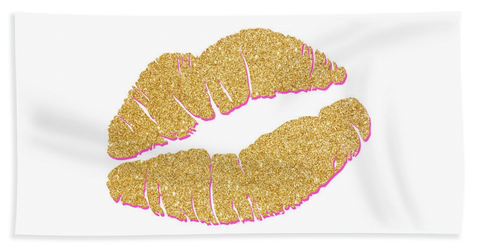 Gold Beach Towel featuring the digital art Gold Kiss by South Social Studio