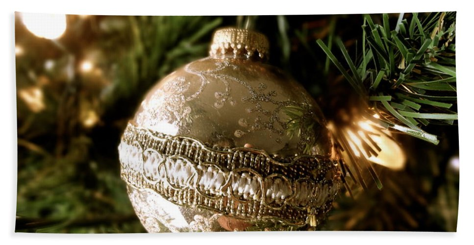 Christmas Beach Towel featuring the photograph Gold Ornament by Jacqueline Athmann