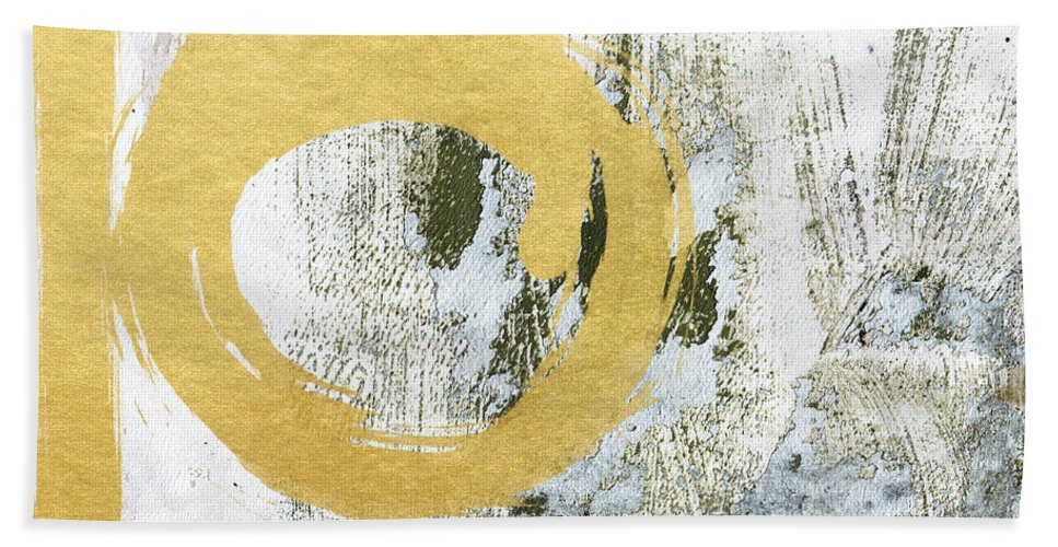 Gold Beach Towel featuring the painting Gold Rush - Abstract Art by Linda Woods