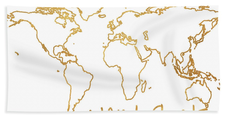 Gold Beach Towel featuring the mixed media Gold Wanderlust by South Social Studio