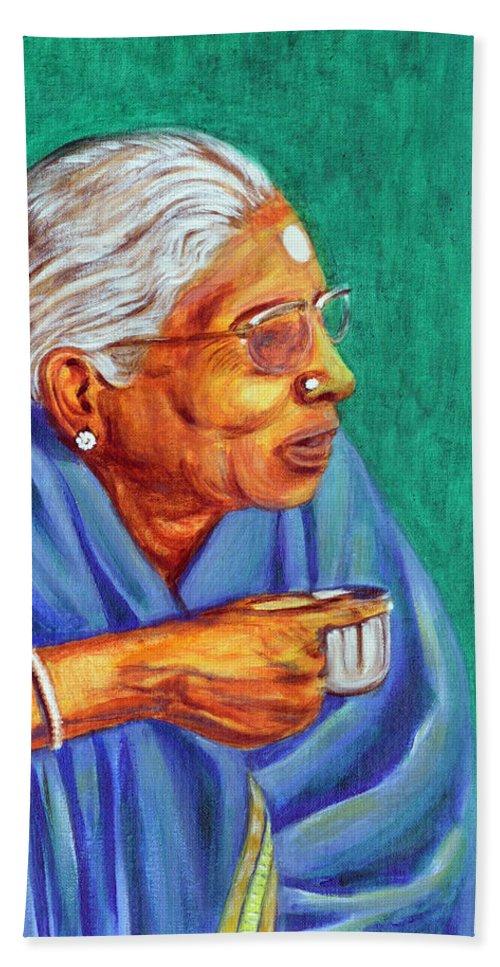 Usha Beach Sheet featuring the painting Golden Age 2 by Usha Shantharam