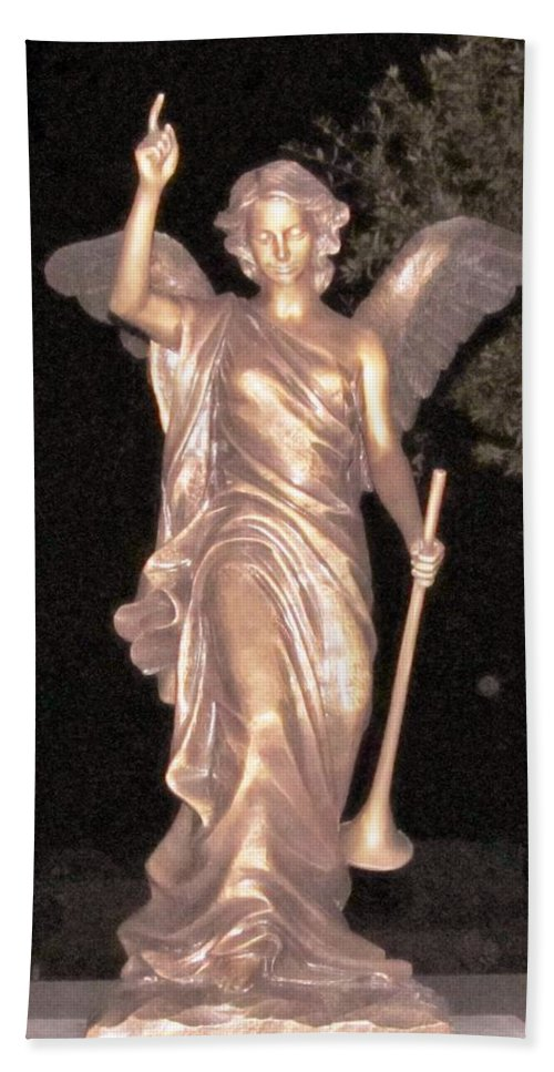 Angel Beach Towel featuring the photograph Golden Angel In The Night by Donna Wilson