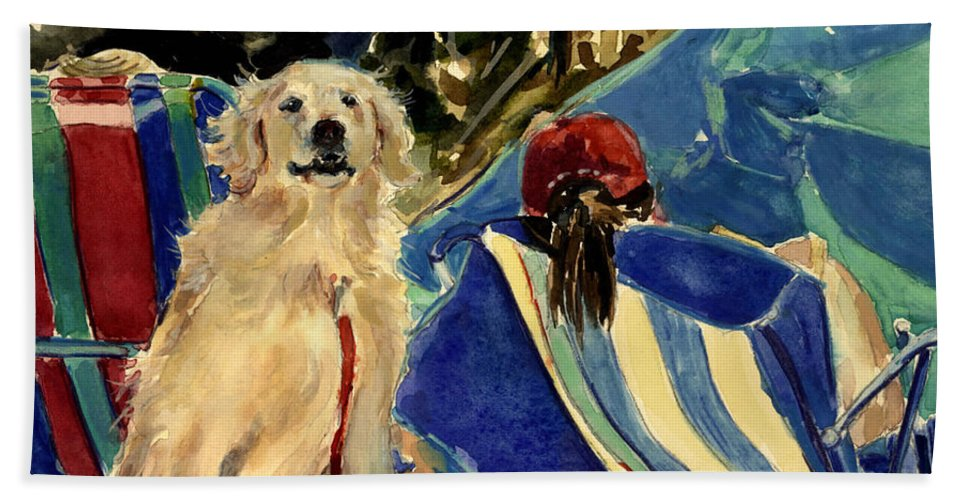 Golden Retriever Beach Towel featuring the painting Golden Beach by Molly Poole