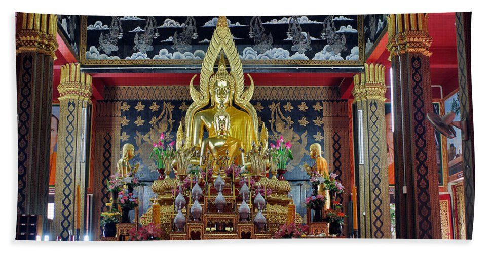 3scape Beach Towel featuring the photograph Golden Buddha by Adam Romanowicz