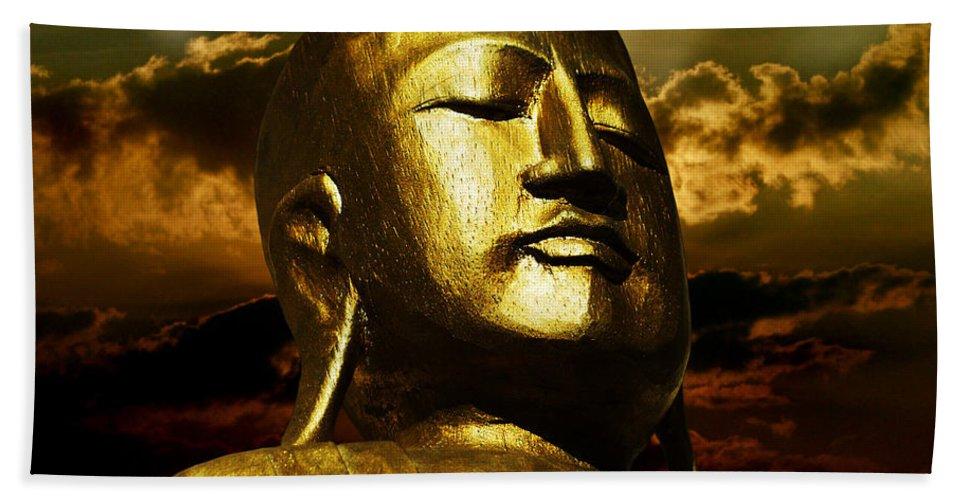 Figur Beach Towel featuring the photograph Golden Buddha by Joachim G Pinkawa