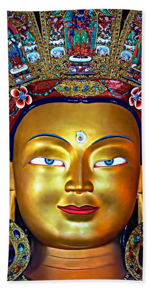 Buddhism Beach Towel featuring the photograph Golden Buddha by Steve Harrington