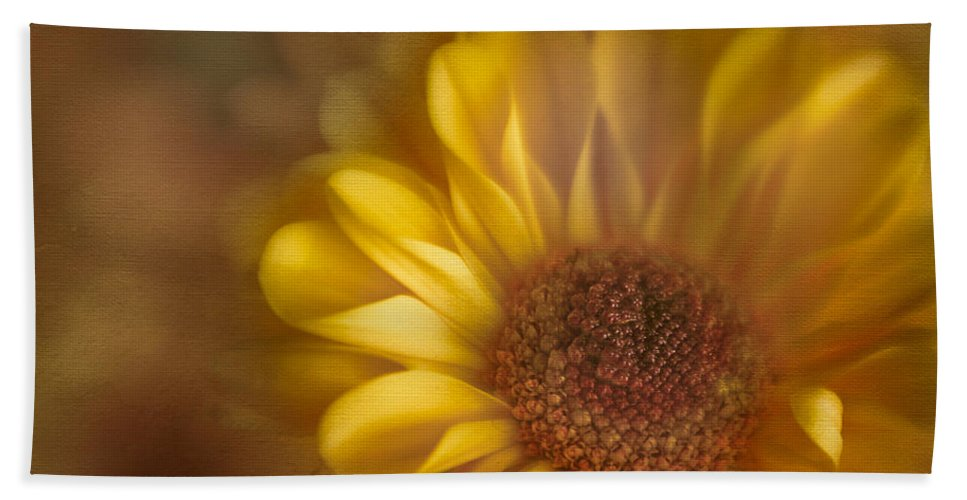 Flower Beach Towel featuring the photograph Golden Dahlia by David and Carol Kelly