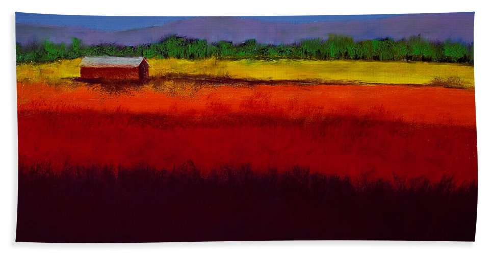 Golden Field Beach Towel featuring the painting Golden Field by David Patterson