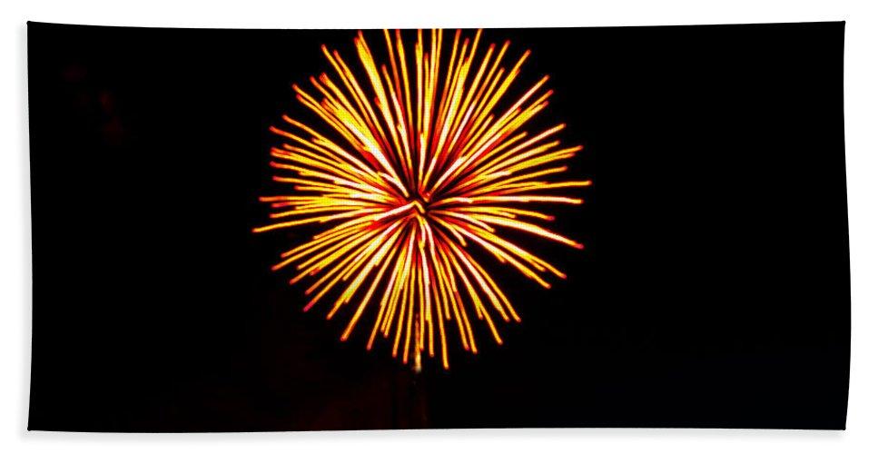 Fireworks Beach Towel featuring the photograph Golden Fireworks Flower by Robert Bales