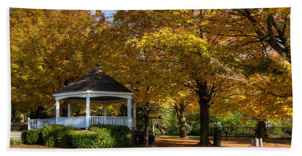 Autumn Beach Towel featuring the photograph Golden Gazebo by Donna Doherty