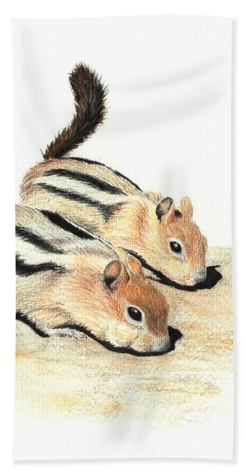 Nature Beach Sheet featuring the painting Golden-mantled Ground Squirrels by Lynn Quinn