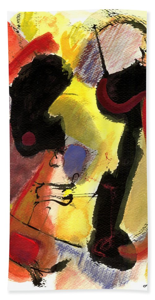 Abstract Art Beach Towel featuring the painting Golden Moon 2 by Stephen Lucas