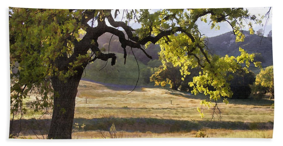 Oak Beach Towel featuring the digital art Golden Oaks by Sharon Foster