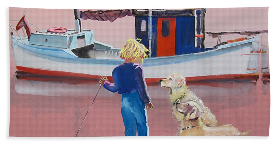 Retriever Beach Towel featuring the painting Golden Retrievers by Charles Stuart