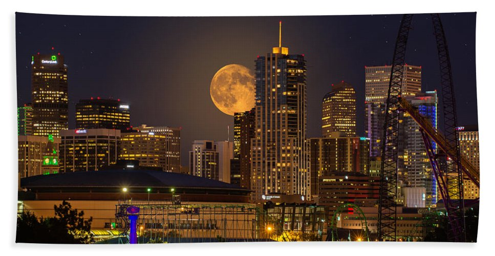 Denver Beach Towel featuring the photograph Golden Supermoon by Bob Keller