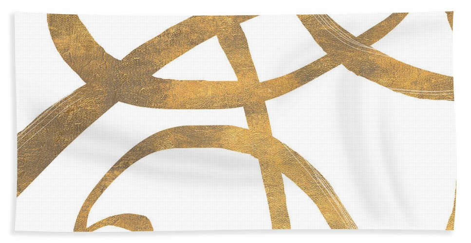 Golden Beach Towel featuring the digital art Golden Swirls Square II by Patricia Pinto