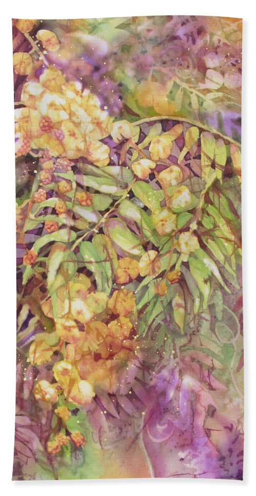Flower Beach Towel featuring the painting Golden Wattle by Deborah Younglao