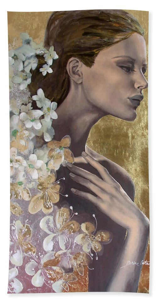 Beach Towel featuring the painting Golden Wind by Dorina Costras