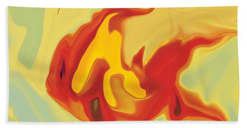 Aquarium Beach Sheet featuring the digital art Goldfish 2 by Rabi Khan