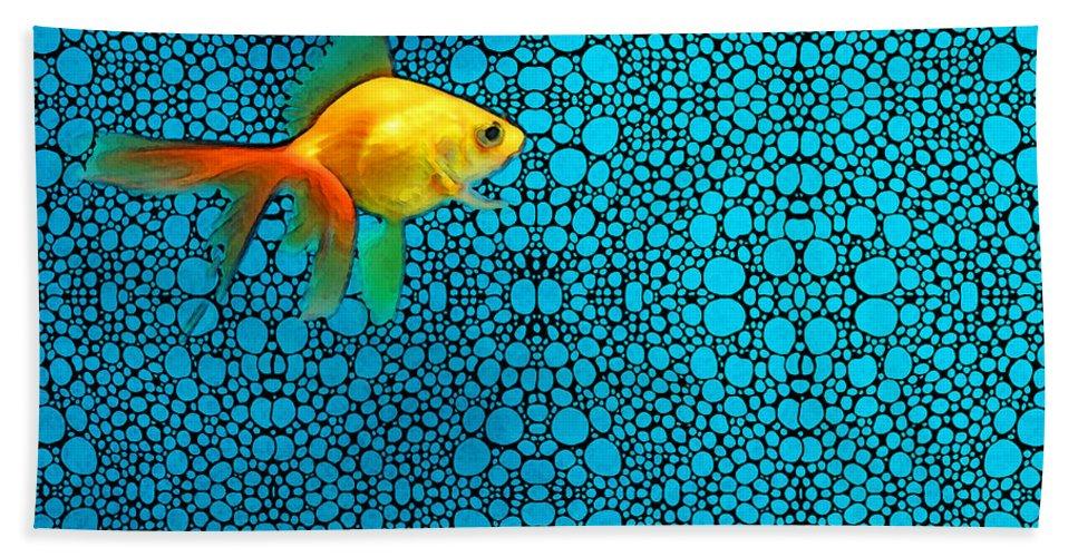 Goldfish Beach Towel featuring the painting Goldfish Study 3 - Stone Rock'd Art By Sharon Cummings by Sharon Cummings