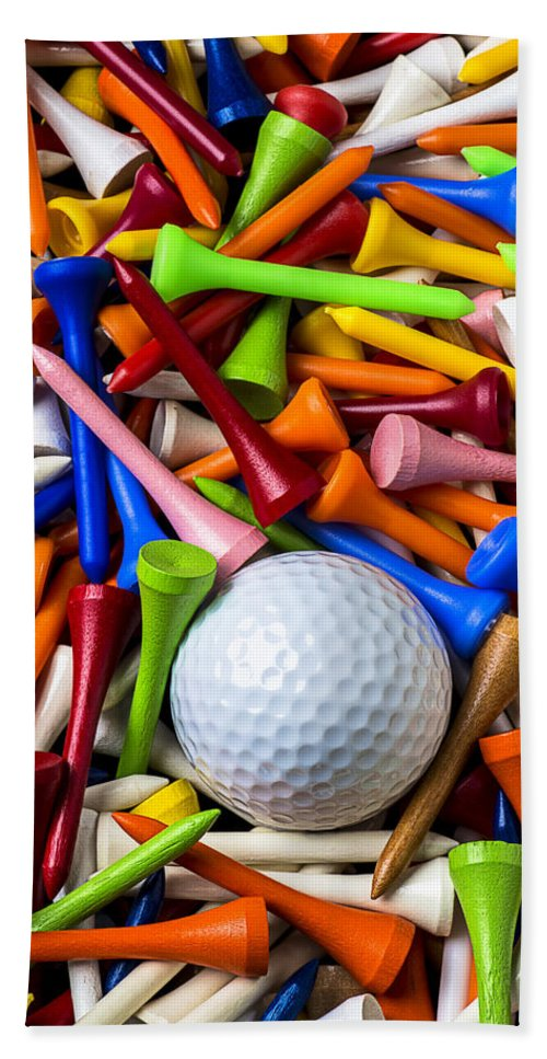 Golf Ball Beach Towel featuring the photograph Golf Ball And Tees by Garry Gay