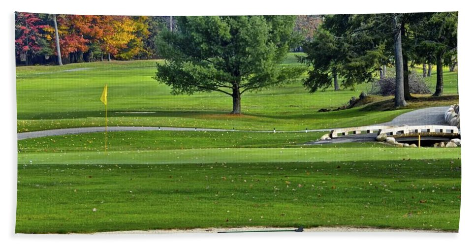 Fall Beach Towel featuring the photograph Golf Course Guardians by Frozen in Time Fine Art Photography