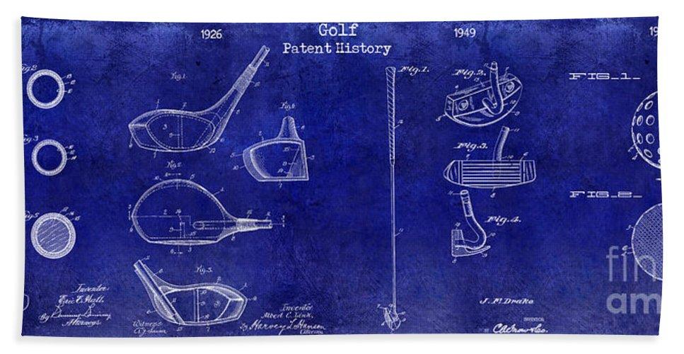 Golf Tee Beach Towel featuring the photograph Golf Patent History Drawing Blue by Jon Neidert