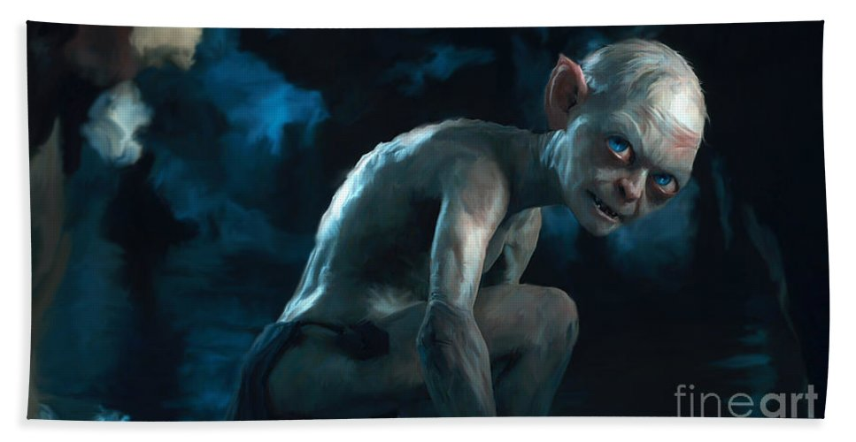 Gollum Beach Towel featuring the painting Gollum by Paul Tagliamonte