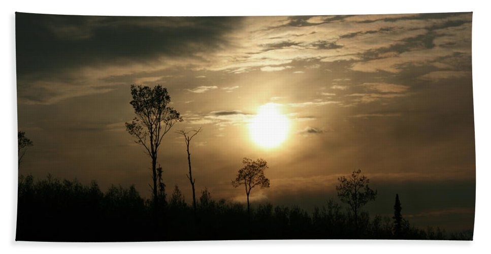 Sand Lake Sunset Northern Saskatchewan Sky Clouds Trees Sun Bush Country Forest Nature Beach Towel featuring the photograph Good Night by Andrea Lawrence