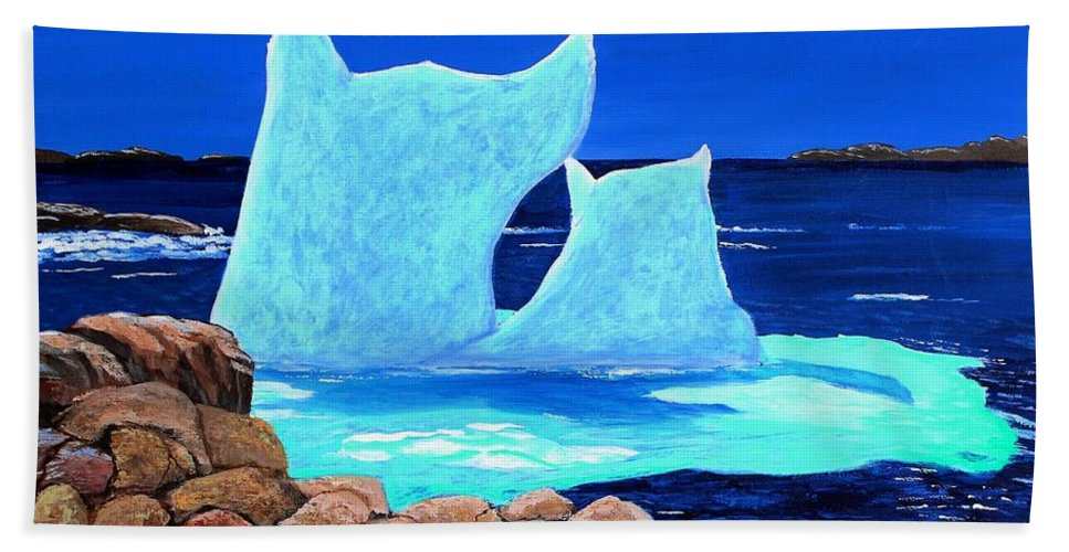 Barbara Griffin Beach Towel featuring the painting Goodbye Greenland by Barbara Griffin