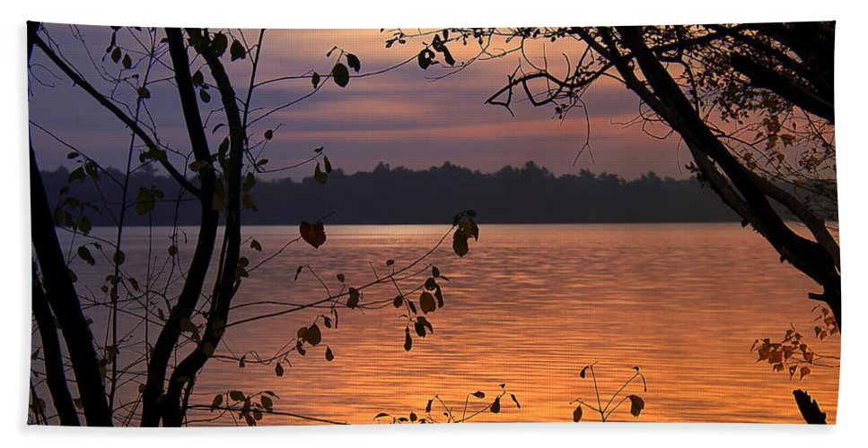 Lake Beach Towel featuring the photograph Goodnight Lake by Cindy Greenstein