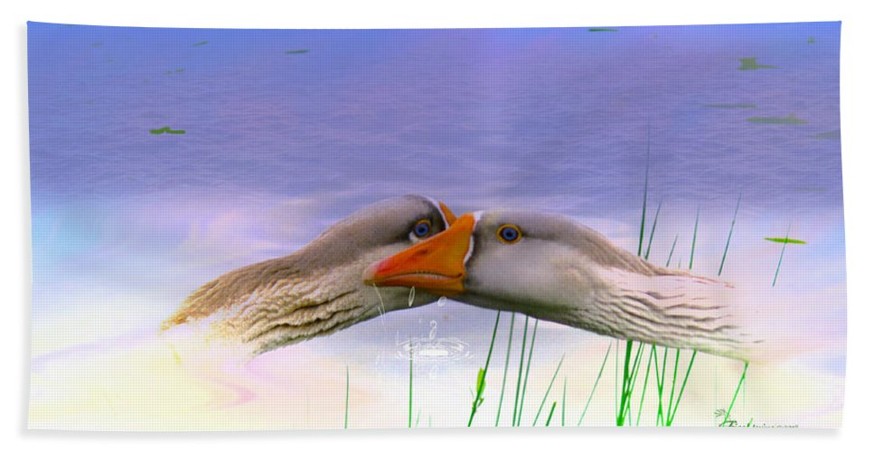 Goose Beach Towel featuring the photograph Goose Kiss - Featured In Comfortable Art - Nature Wildlife - Wildlife Groups by Ericamaxine Price