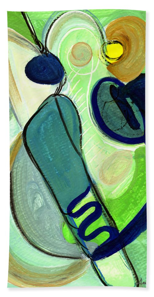 Abstract Art Beach Towel featuring the painting Gorgeous In Green by Stephen Lucas