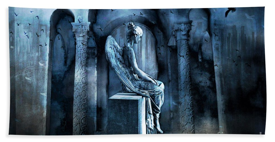 Gothic Beach Towel featuring the photograph Gothic Surreal Angel In Mourning With Ravens by Kathy Fornal