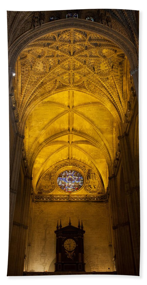 Seville Beach Towel featuring the photograph Gothic Vault Of The Seville Cathedral by Artur Bogacki